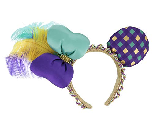 Disney Parks Mardi Gras Ornate Beaded Feathers Mickey Minnie Mouse Ears -
