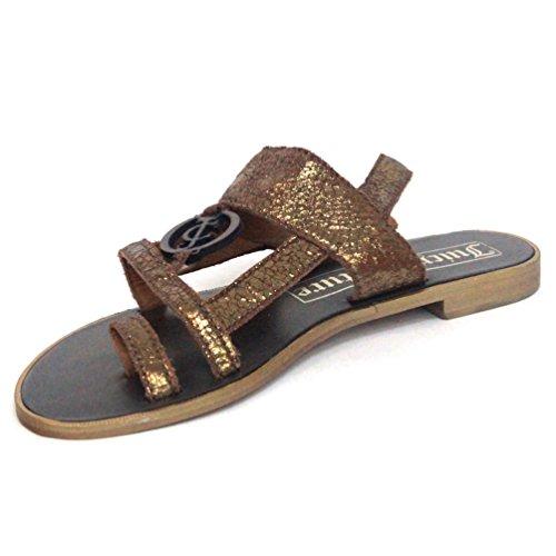 Sandalias metálicas Juicy Couture, estándar del Reino Unido 3,5, de £115 Plata - dorado