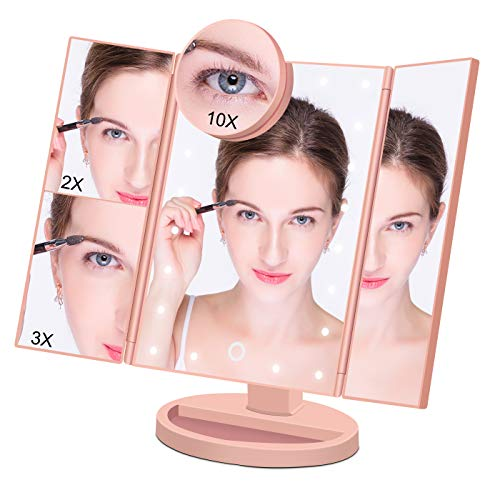 Makeup Mirror Lighted Makeup Vanity Mirror with 21 LED Lights, 3X/2X Magnification and Detachable 10X magnifying mirror,Tri-flod LED Makeup Mirror with touch screen (Rose Gold)