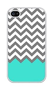Chevron Pattern Turquoise Grey White Plastic For iphone 4 4s case