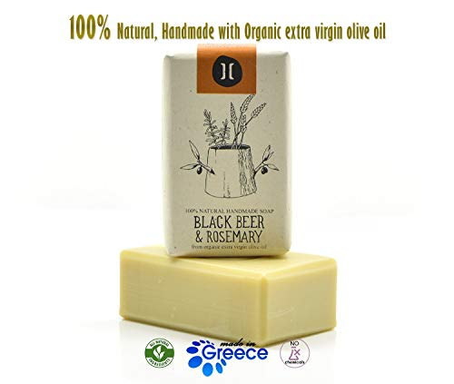 Natural Handmade Organic Olive Oil Soap, Luxury Soap Bar Helleo (4.2 oz, Beer, Rosemary)