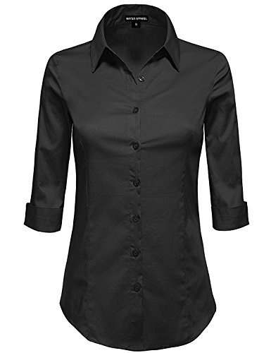 MAYSIX APPAREL 3/4 Sleeve Stretchy Button Down Collar Office Formal Shirt Blouse For Women , Mss1_black, LARGE ( fits like Medium -