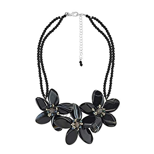 AeraVida Reconstructed Agate Flower & Cultured Freshwater Black Pearl Center Collar Necklace ()