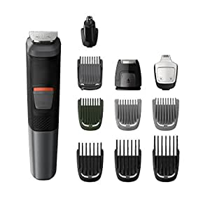 Philips Multigroom Series 5000 11-in-1 Face, Hair and Body Waterproof Trimmer/Clipper with DualCut Technology and 80 min runtime, Black, MG5730/15