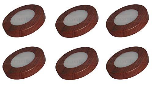 Mufasa 3 Watts LED Surface Panel, Slim Round Style Ceiling Lamp Cabinet, Wardrobe Light, Wooden Finish, Warm White, Pack…