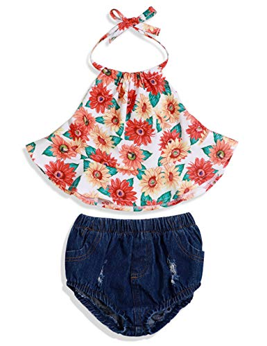 Baby Girl Clothes Ruffled Floral Halter Tops Denim Shorts 2PC Summer Outfit Set 6-12Months ()