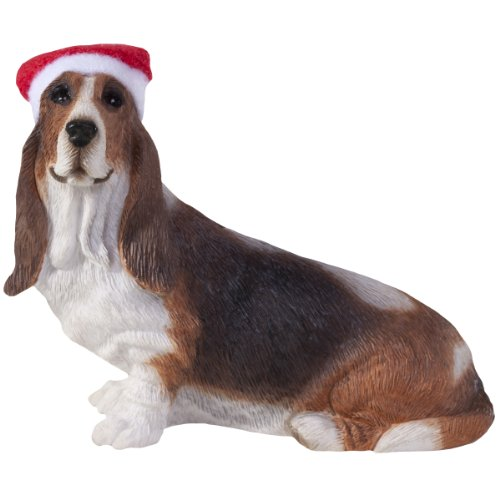 Sandicast Basset Hound with Santa Hat Christmas Ornament