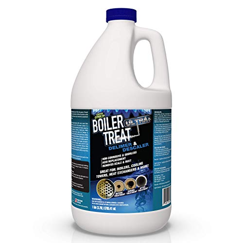 BOILER TREAT ULTRA | Delimer and Descaler | Muriatic and Hydrochloric acid replacement - 1 Gallon (Removes Scale & Lime in Steam Boilers