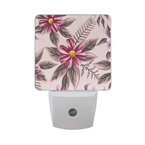Night Light Flowers Tropical Plants Leaf Pattern Led Light Lamp for Hallway, Kitchen, Bathroom, Bedroom, Stairs, DaylightWhite, Bedroom, Compact