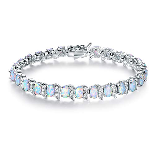 (Sweet & Soft Barzel White Gold & Rose Gold Plated Created Opal Wave Tennis Bracelet (Silver))