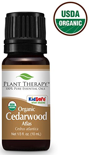 Plant Therapy USDA Certified Organic Cedarwood Atlas Essential Oil. 100% Pure, Undiluted, Therapeutic Grade. 10 ml (1/3 oz).