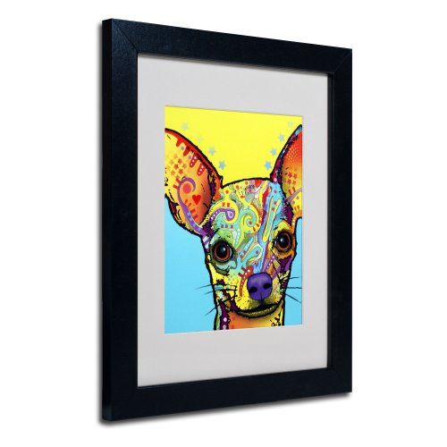 Chihuahua Matted Artwork by Dean Russo with Black Frame, 11 by 14-Inch