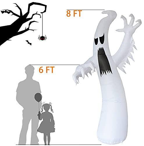 Yostyle Halloween Inflatables 8ft Inflatables Ghost for Halloween Decorations Outdoor Built-in LED Lights with Tethers, Stakes for Outdoor Decor, Halloween Blow Up Yard Decorations, Garden, Lawn