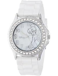 Women's TK1062 Rhinestone Accent Tinkerbell White Rubber Strap Watch