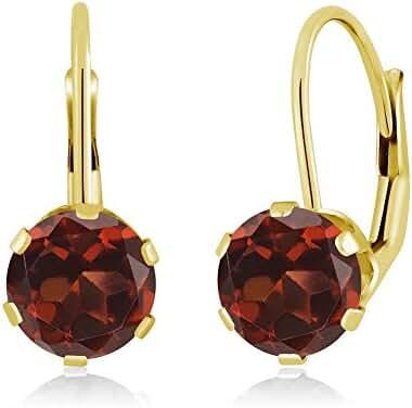 2.00 Ct Round 6MM Natural Red Garnet 14K Yellow Gold Women's Earrings