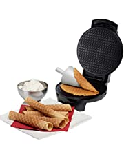 Mainstayae Double-Side Non-Stick Crispy Egg Roll Cone Baking Mould Ice Cream Maker Waffles Frying Pan Baked Goods for Kitchen Breakfast Snacks