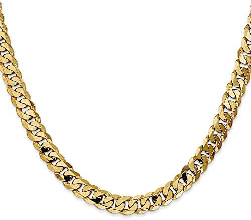 14k Yellow Gold 24in 7.25mm Flat Beveled Curb Necklace Chain