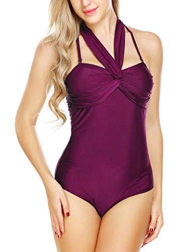 ELOVER Women Halter One Piece Swimsuit Criss Cross Bikini Swimwear Backless Bathing Suit