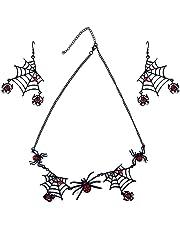 Jantabo Halloween Spider Ketting Oorbellen Sets, Halloween Spider Sieraden Set Spider Web Oorstekers Opknoping Hanger Halloween Sieraden Gift voor Vrouwen Meisjes Halloween Accessoire