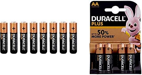 Duracell Plus AAA Alkaline Batteries [Pack of 8], 1.5 V LR03 MN2400 & LR6/MN1500 Plus Power Type AA Alkaline Batteries, Copper