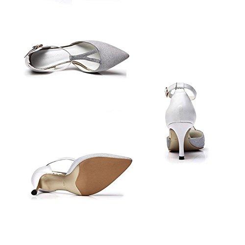 JIANXIN Bouffant Bouffant Bouffant Der Dame Mit Hohen Absätzen Und Modernen Hohlen Sandalen 37 Yards. (Farbe   Silber größe   EU 35 US 5 UK 3 JP 22.5cm) 809e6a