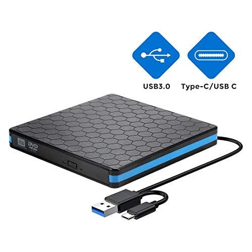 External CD Drive with USB 3.0 & Type-C, Optical Drive for USB C VCD/DVD/CD -ROM/ -R/ +R /-RW with High Speed, CD Burner/Reader/Writer, Suitable for Windows/Linux/MAC OS