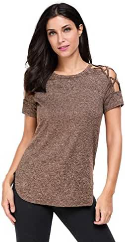 Astylish Women Sexy Cold Shoulder Cut Out Blouse Casual T Shirt Tops