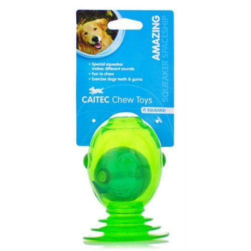 Chase N Chomp Squeaker Spaceship Toy for Pets by Top Dog Treats and Chews