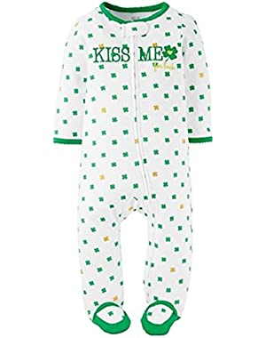 Just One You Baby Girls' Kiss Me Footed Sleeper - White