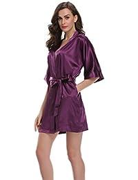 Women's Pure Color Satin Kimono Robe