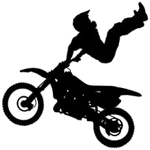 Motocross Wall Decal Sticker 1 - Decal Stickers and Mural for Kids Boys Girls Room and Bedroom. Dirt Bike Wall Art for Home Decor and Decoration Ð Extreme Sports Motocross Bike Silhouette Mural
