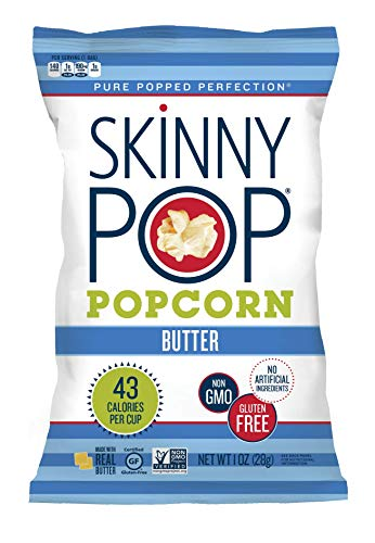 SkinnyPop Butter Popped Popcorn, Gluten Free Popcorn, Non-GMO, Healthy Snack, 12 Pack Of 1.0oz Snack Size Bags