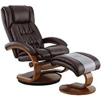 Mac Motion Oslo Collection Recliner with Matching Ottoman in Whisky Breathable Air Leather with Walnut Frame