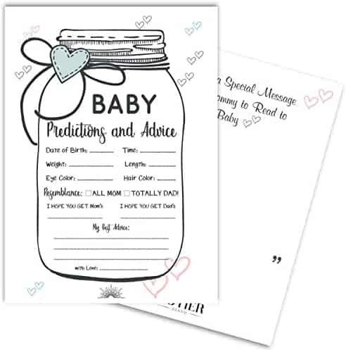 24 Baby Shower Mason Jar Prediction and Advice Game Cards | Gender Neutral, Boy, Girl | Best Wishes & Keepsake Message Area
