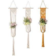 Macrame Plant Shelf Hangers-Indoor Hanging Planter Decorative Pot Holder with Beautiful Flower Cut Outs - Boho Chic Bohemian Tassels Home Decor Garden Planter Rack, Handmade (Cord Hanger)