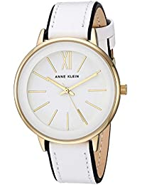Women's AK/3252WTBK Gold-Tone Accented Black and White Leather Strap Watch