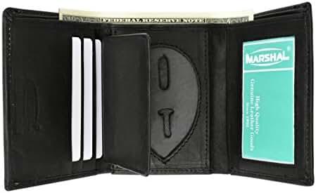 Genuine Leather Trifold Badge Holder Wallet Black, Police Badge Holder