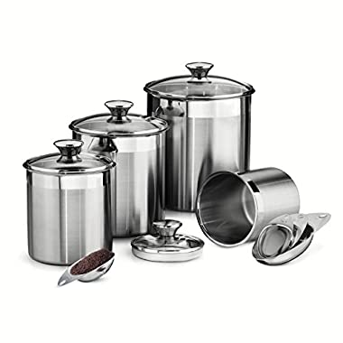 Tramontina 80204/527DS 8 Piece Canister and Scoops Set, Stainless Steel