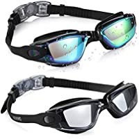 Aegend Swim Goggles, Pack of 2 Swimming Goggles No Leaking Anti Fog UV Protection Crystal Clear Vision Triathlon Swim Goggles Free Protection Case Adult Men Women Youth Kids Child, 6 Choices