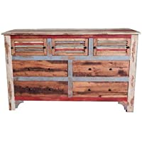 Rustic Multi Color Louvered Dresser * Solid Wood * Shabby Chic * Free Shipping *