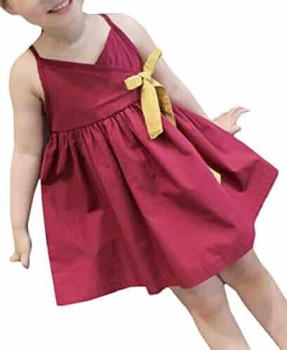 3b41290a2dd5 Wofupowga Girls Sleeveless Bowkont Sundress Spaghetti Strap Swing Pleated  Dresses