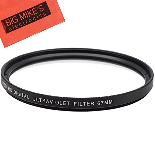 67mm Multi-Coated UV Protective Filter for Select Canon, Nikon, Olympus, Pentax, Sony, Sigma, Tamron Digital Cameras, SLR Lenses, and Camcorders + MicroFiber Cleaning Cloth