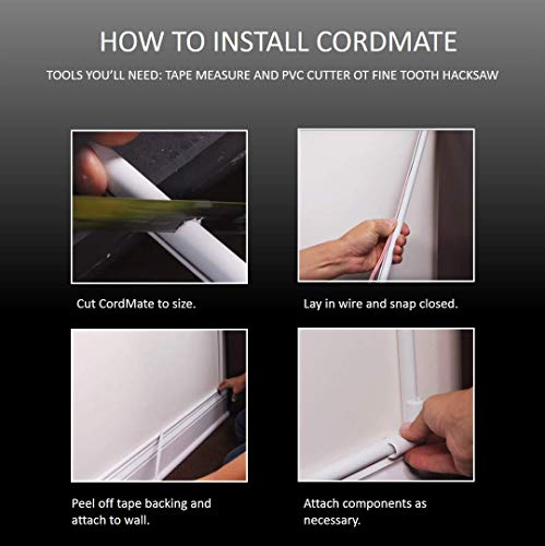 Wiremold Cable Management Kit, Cordmate, Cord Organizer and Hider, Cord Cover, Concealer, and Protector for Wall, Single Cord, CMK10