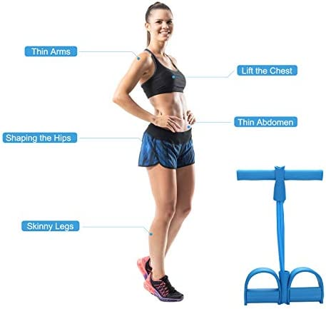 LEBAO Pedal Resistance Band, 4-Tube Fitness Sit-up Rope and Pedal Abdominal Exercise Equipment, Multifunctional Pull Rope, Weight Loss Home Fitness Yoga Fitness Equipment 5