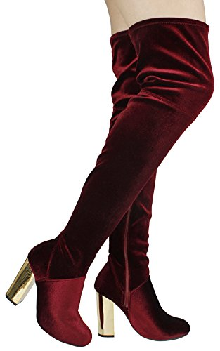 Side Chunky Wine Knee Metallic 08m Boots Zip Soft Faux Suede Round Thigh Over Toe Heel High Women w1qgS0W7