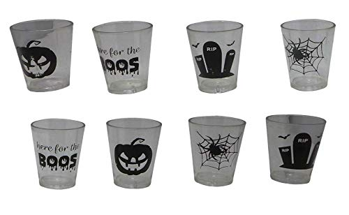 Halloween Clear Plastic Shot Glasses (Pack of 8) Perfect For Halloween Zombie Cocktail Parties