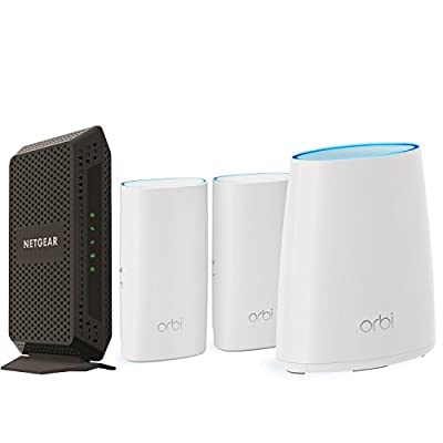 NETGEAR Orbi Whole Home Mesh WiFi System (RBK33) with CM600 (24x8) DOCSIS 3.0 Cable Modem Bundle