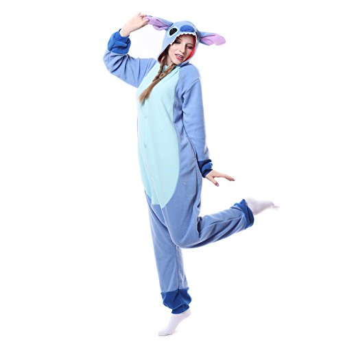 Adults Onesie Halloween Costumes Animals Sleeping Pajamas (XL, Blue Stitch)]()