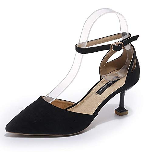 Pump Pointed Stiletto Women's Basic ZHZNVX Toe Pink PU Black Polyurethane Heels Black Summer Almond Shoes Heel v8xqY1f