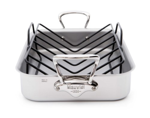 Mauviel Made In France M'cook 5217.40GWP 15.7 by 11.8-Inch Rectangular Roasting Pan and with Bonus Roasting Rack